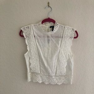 Forget 21 White Lace Crop Top